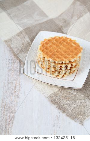 Tasty Waffles On A White Plate