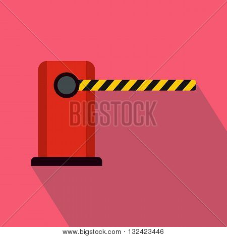 Parking entrance icon in flat style on a pink background