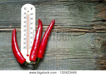 Hot temperature creative sign with thermometer and chilly