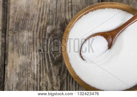 Sugar In A Wooden Bowl