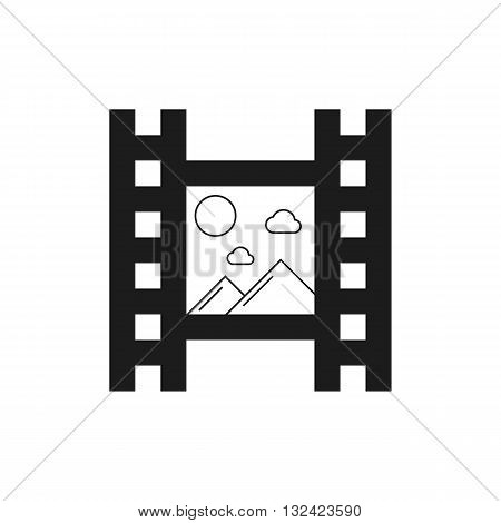 black film icon with mountains. concept of footage, 35 mm format, television, cinematography, film roll, slide. isolated on white background. flat style trendy modern logo design vector illustration