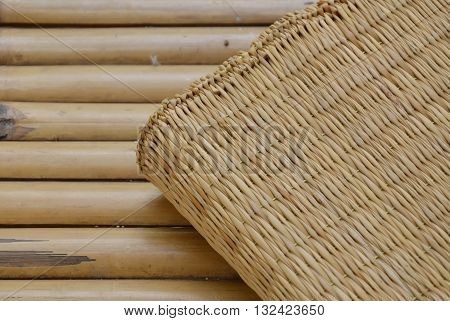 mat on bamboo litter on the table