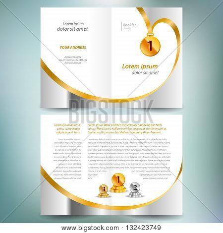 booklet catalog brochure design template vector folder leaflet award winner element gold color white background
