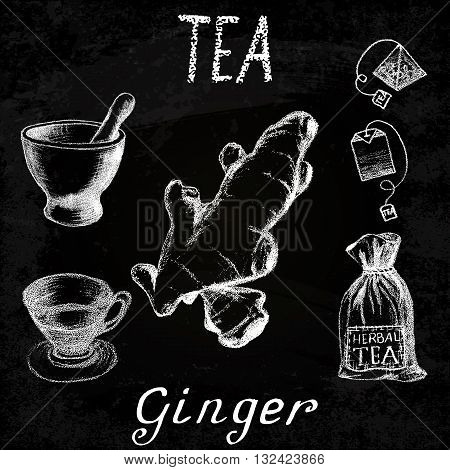 Ginger herbal tea. Chalk board set of vector elements on the basis hand pencil drawings. Ginger root tea bag mortar and pestle textile bag cup. For labeling packaging printed products