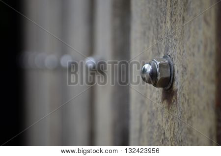 Stainless steel bolts used to hold a piece of wood attached to the steel frame for the door.