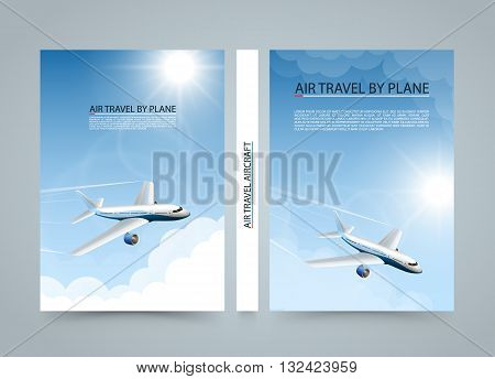 Air travel by plane, Modern airplane sun banners, Cover A4 size, Airplane taking off at sunset, Airline transportation, Vector illustration