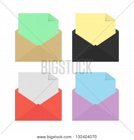 set of four opened colored envelopes. concept of stationery, delivery, marketing, mailbox, sms, checking and analysis e-mail. isolated on white background. flat style modern design vector illustration