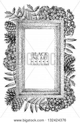 Rectangular frame with different flowers and plants drawn by hand with black ink. Graphic drawing pointillism technique. Place for text. Can be used as postcard illustration