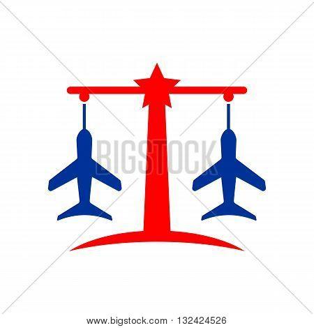 Law balance symbol justice scales icon on stylish plane