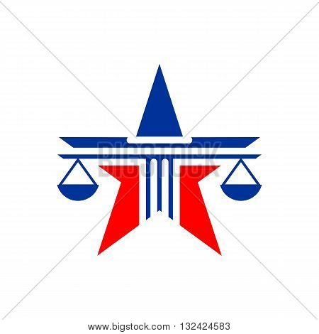 Law balance symbol justice scales icon on stylish star