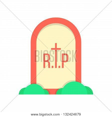 red grave icon with bushes. concept of decoration, october holiday, fear, horrendous, end of life journey. isolated on white background. flat style trendy modern logo design eps10 vector illustration