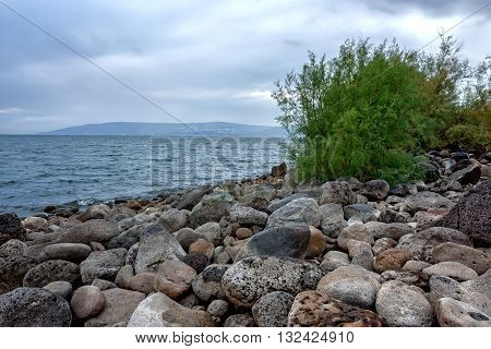 Scenic view of Sea of Galilee in Israel