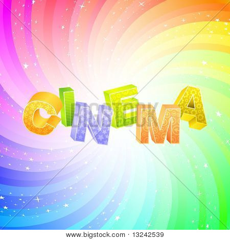 CINEMA. Word collage on white background. Vector illustration.