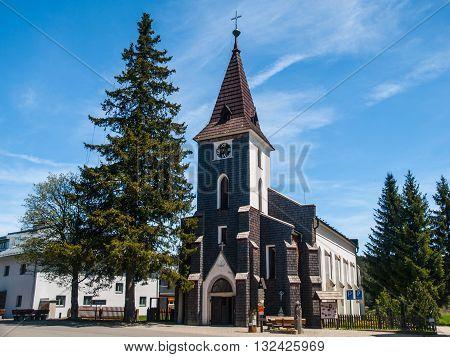 Mountain Church  in Kvilda village, Sumava Mountains, Czech Republic