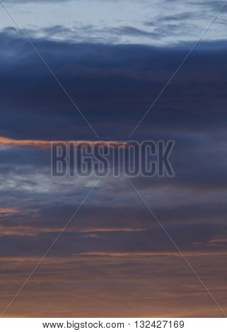 Sunset Sky Dramatic Background, Colorful Twilight Sky With Orange Sunlight On Cloud