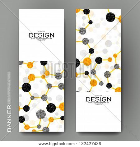 Beautiful banner vector template with DNA molecule background. Creative modern design
