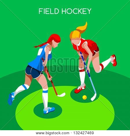 Field Hockey Girl Player Summer Games Icon Set.3D Isometric Field Hockey.Sporting Championship International Female Field Hockey Competition.Sport Infographic Field Hockey Vector Illustration