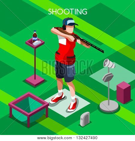 Shooting Player Summer Games Icon Set.3D Isometric Shooter Athlete.Sporting Championship International Shooting Competition.Sport Infographic Shooting Vector Illustration