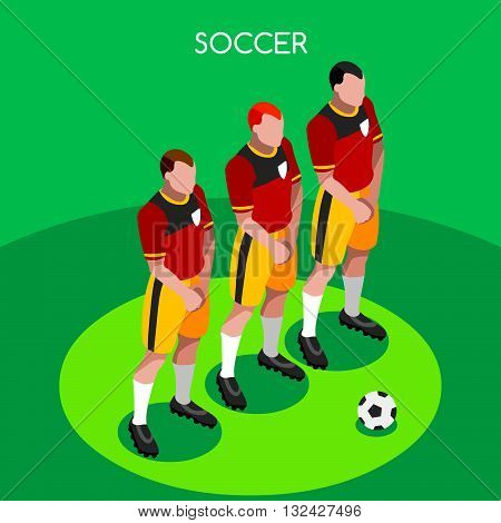 Soccer Player Athlete Summer Games Icon Set.3D Isometric Soccer Team Barrier Players.Sporting International Competition Championship.Sport Soccer Infographic Football Vector Illustration.