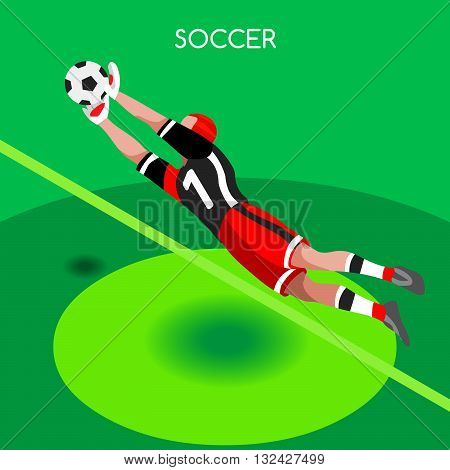 Soccer Goalkeeper Block. Soccer Player Athlete Summer Games Icon Set.3D Isometric Soccer Match Goalkeeper Save.Sporting International Competition Championship.Sport Soccer Infographic Football Ve