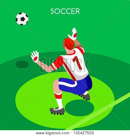 Soccer Goalkeeper Block. Soccer Player Athlete Summer Games Icon Set.3D Isometric Soccer Match Goalkeeper Save.Sporting International Competition Championship.