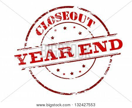 Rubber stamp with text closeout year end inside vector illustration