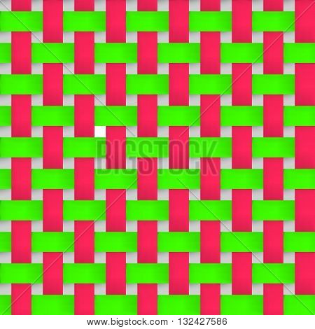 Interlacing paper fabric green and pink tapes with drop shadows and bending elements. Seamless vector texture. Seamless pattern. Vector geometric background.