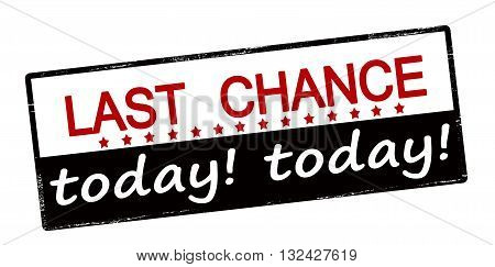 Rubber stamp with text last chance today inside vector illustration