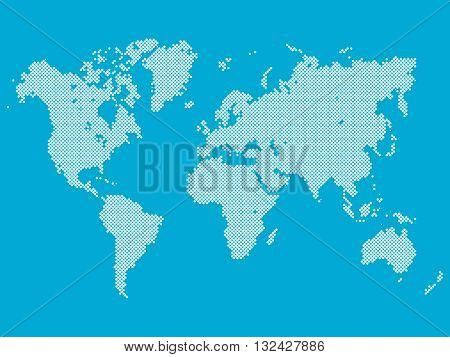 Dotted map of World. World map made of white dots in diagonal arrangement on blue background.