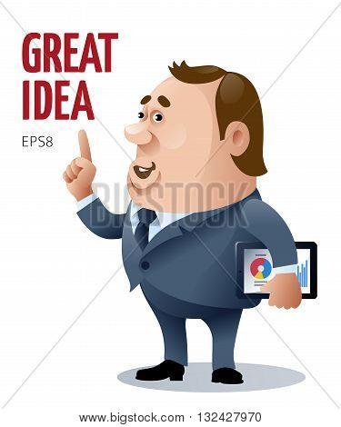Vector cartoon businessman who has a big idea. Eps8. RGB. Global colors