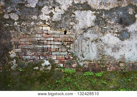 Old exposed brick on a wall in Vietnam