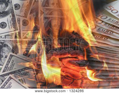 Burning Euro-Dollar Background