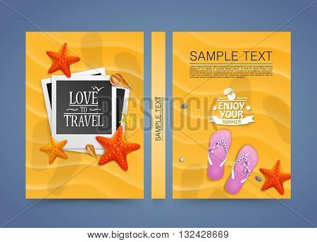 Summer beach vacation scene with flat photo frame on the sand, Cover A4 size, vector illustration