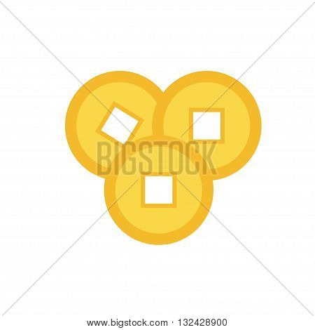 Three feng shui Chinese coin set. China gold money square centre. Golden coin with hole. Happy New Year symbol atribute. Flat design. White background. Isolated. Vector illustration.
