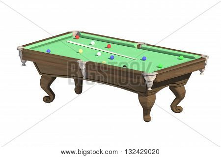 3D rendering of a billiard table with a cue and balls on a white background
