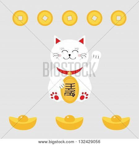 Lucky cat holding golden coin. Japanese Maneki Neco cat waving hand paw icon. Chinese gold Ingot money. Feng shui Success wealth symbol mascot Cute character Greeting card Flat White background Vector