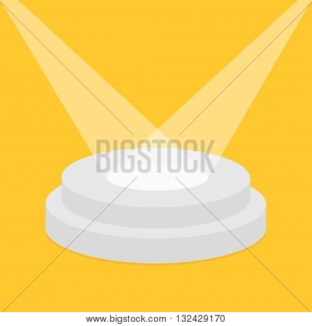 Round stage podium illuminated by spotlights. Empty pedistal for display. 3d realistic platform for design. Isolated. Yellow background. Template. Flat design. Vector illustration
