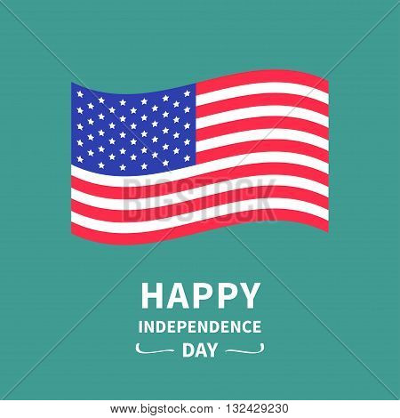 Happy independence day United states of America. 4th of July. Waving American flag. Green background. Isolated. Greeting card. Flat design. Vector illustration