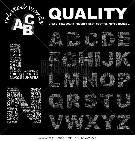 QUALITY. Vector letter collection. Illustration with different association terms.