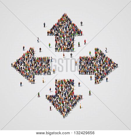 Large group of people in the form of arrows. Vector illustration.
