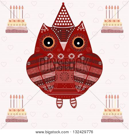 Cute owl with ethnic ornament birthday. Animal bird symbol of wisdom. Funny owl. Vector owl. Bird of prey owl.