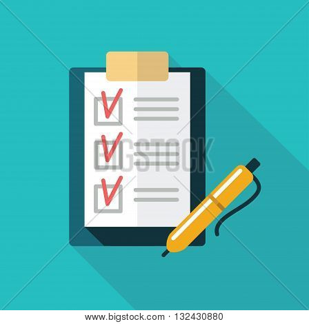 The checklist in a folder with clip and pen