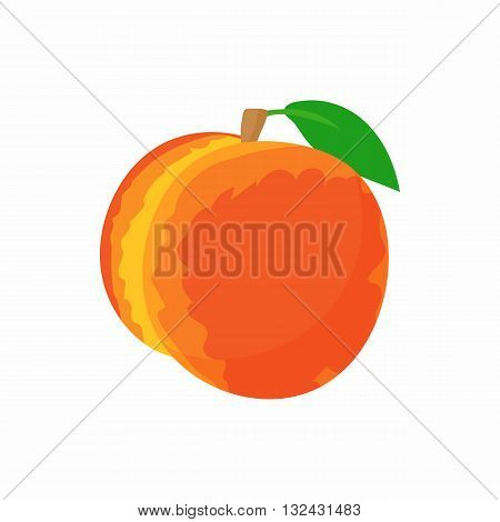 Ripe whole peach icon in cartoon style on a white background