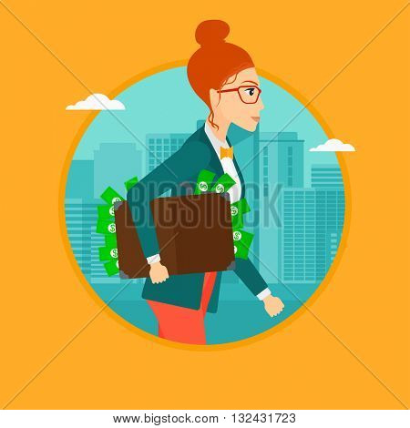 A woman walking in the city with suitcase full of money. Vector flat design illustration in the circle isolated on background.