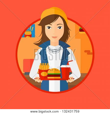 A woman holding tray full of junk food. Woman in fast food restaurant. Woman having lunch in a fast food restaurant. Vector flat design illustration in the circle isolated on background.