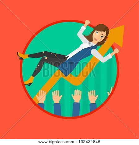 A business woman get thrown into the air by coworkers during celebration. Vector flat design illustration in the circle isolated on background.