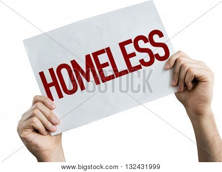 Homeless placard isolate on white background