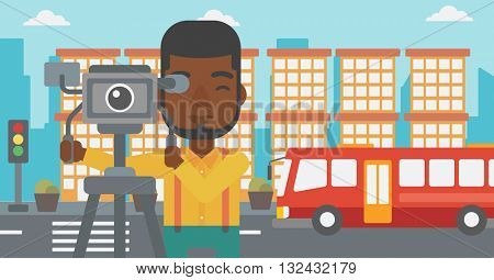 An african-american man looking through movie camera on a city background vector flat design illustration. Horizontal layout.