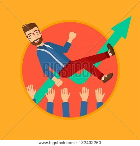 A businessman get thrown into the air by coworkers during celebration. Vector flat design illustration in the circle isolated on background.