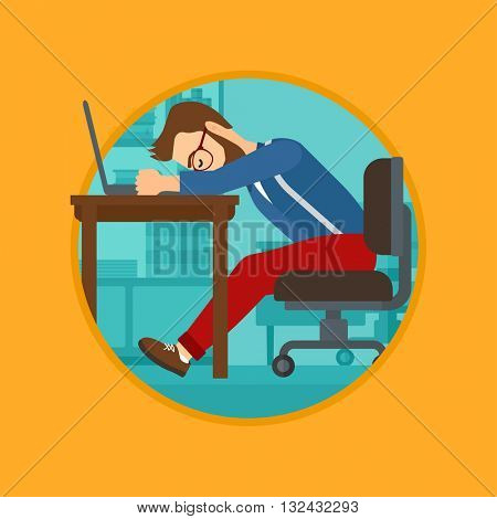 Tired employee sleeping at workplace on laptop keyboard. Vector flat design illustration in the circle isolated on background.